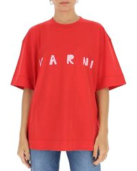 Marni Logo Print Oversized T-shirt - Red