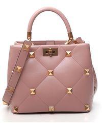 Valentino Garavani Roman Stud Top Handle Bag - Pink