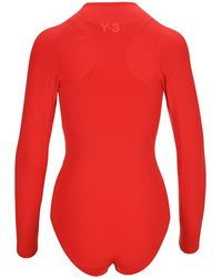 Y-3 Long Sleeve One-piece Swimsuit - Red