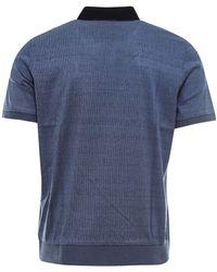 Corneliani - Striped Collar Polo Shirt - Lyst