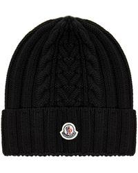 Moncler Logo Patch Ribbed Knit Beanie - Black
