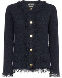 Boutique Moschino Buttoned Tweed Cardigan - Blue