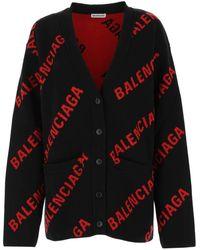 Balenciaga Allover Logo Cardigan - Black