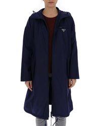 Prada Garbardine Hooded Raincoat - Blue