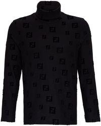 Fendi Cotton Sweater With Allover Ff Logo - Black