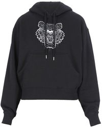 KENZO Tiger Embroidered Boxy Hoodie - Black