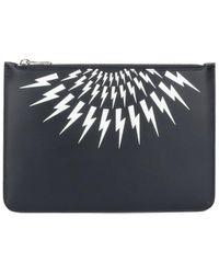Neil Barrett Thunderbolt Print Clutch Bag - Black