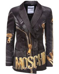 Moschino Macro Biker Print Blazer - Black