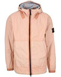 Stone Island Zipped Hooded Jacket - Pink