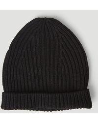 Rick Owens Gethsemane Rib Knit Beanie - Black