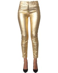 Moschino Metallic Mid Rise Slim Fit Pants