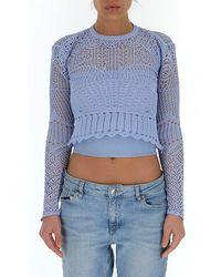 Alexander McQueen Crochet Knitted Top - Blue