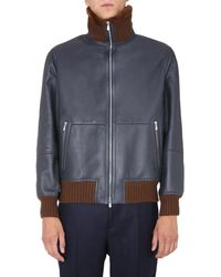 Brunello Cucinelli Shearling Bomber Jacket - Blue