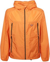 Prada Logo Plaque Hooded Jacket - Orange
