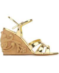 Miu Miu Carved Wedge Sandals - Metallic