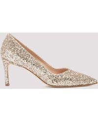 Stuart Weitzman Anny Glitter Court Shoes - Metallic