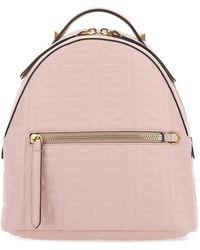 Fendi Ff Motif Embossed Mini Backpack - Pink