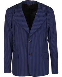 Lanvin Striped Hooded Blazer - Blue