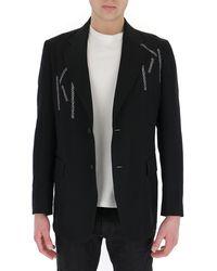 Yohji Yamamoto Embroidered Single-breasted Blazer - Black