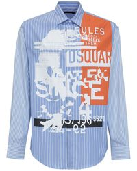DSquared² Graphic Print Striped Shirt - Blue