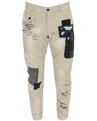DSquared² Patch Detailed Cropped Trousers - Natural