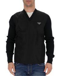 Prada Ribbed V-neck Sweater - Black
