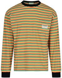 Aries Logo Printed Striped Long Sleeve T-shirt - Yellow
