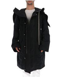 Rick Owens Hooded Parka Coat - Black