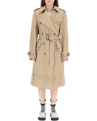 R13 Shredded Trench Coat With Frayed Edges - Natural