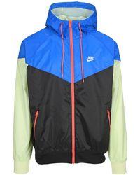 Nike Colour Block Hooded Windbreaker Jacket - Blue