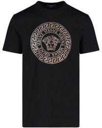 Versace Medusa Logo Embellished T-shirt - Black