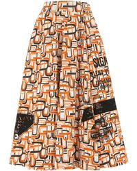 Prada Graphic Printed Full Skirt - Orange