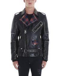Philipp Plein Studded Tartan Insert Logo Jacket - Black