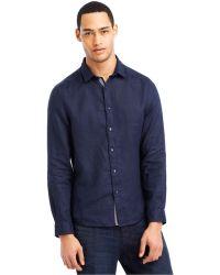 Kenneth Cole Reaction Linen-Blend Shirt blue - Lyst