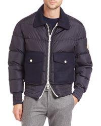 Moncler Arnaud Wool-trimmed Puffer Jacket blue - Lyst