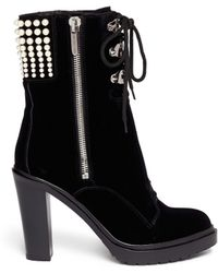Sergio Rossi Resin Pearl Velvet Lace-up Boots - Lyst