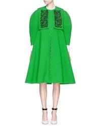 Delpozo Embroidery Bib Wool Crepe Coat - Green