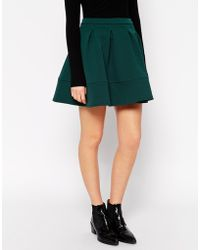 Asos Full Textured Skater Skirt - Lyst