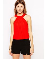 Asos Twist Neck Shell Top - Lyst