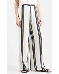 Topshop Wide Leg Stripe Trousers - Lyst