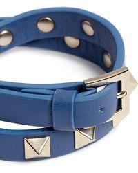 Valentino | 'rockstud' Double Wrap Leather Bracelet | Lyst