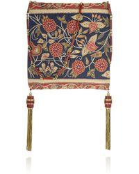 Tory Burch Embroidered Linen Shoulder Bag - Lyst