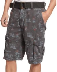 American Rag Belted Printed Cargo Shorts - Lyst