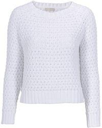 Stefanel Patterned Stitch Cotton Sweater - Lyst