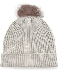 Neiman Marcus - Fur-pompom Ribbed Hat - Lyst