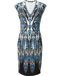 Roberto Cavalli All Over Print Lace Detailed Dress - Lyst