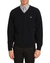 Lacoste Noble Navy Vneck Sweater - Lyst