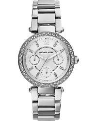 Michael Kors Parker Silvertoned Stainless Steel Watch Silver - Lyst
