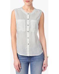 7 For All Mankind | Sleeveless Denim Shirt In Pristine White | Lyst