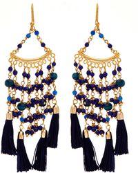 Rosantica Kilimanjaro Tasselled Gold-tone Beaded Earrings - Blue
